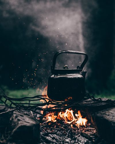 Tea Kettle On Bonfire In Forest