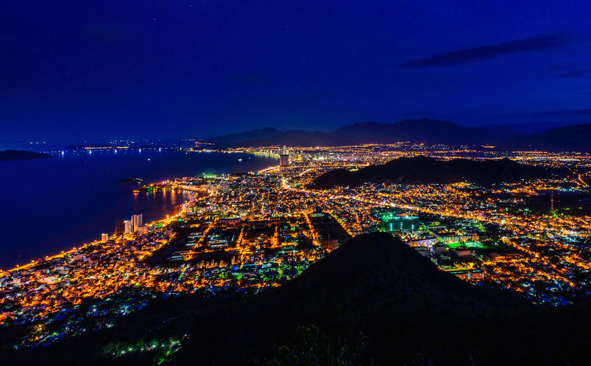 Architecture Beauty In Nature City Cityscape Harbor High Angle View Illuminated Mountain Nature Night No People Outdoors Scenics Sea Sky Star - Space Tourism Travel Destinations Vacations Water