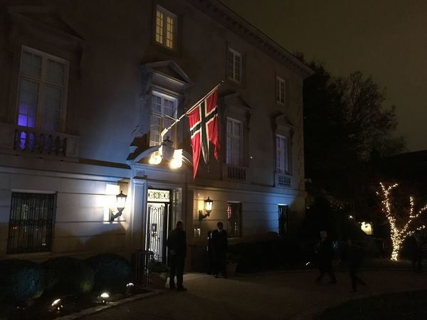 Norway Illuminated Night Flag Architecture Patriotism Built Structure Building Exterior Men Celebration Real People Outdoors People