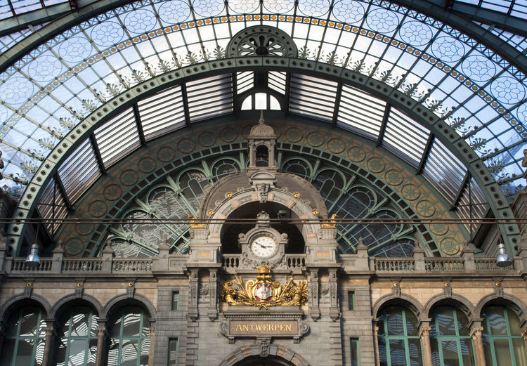 Arch Architecture Building Exterior Built Structure Centraal Station Antwerpen City Clock Day Dome History Indoors  Low Angle View No People Sky Travel Destinations