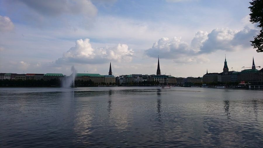 Alster, end of summer. Hamburg Germany Hh Hamburg Meine Perle Alster Alster River Binnenalster Water Waterfront River Hanseatic Cityscape Urban Landscape Urban Nature Clouds Clouds And Sky Water Cloud - Sky Architecture Travel Destinations No People Sky Outdoors
