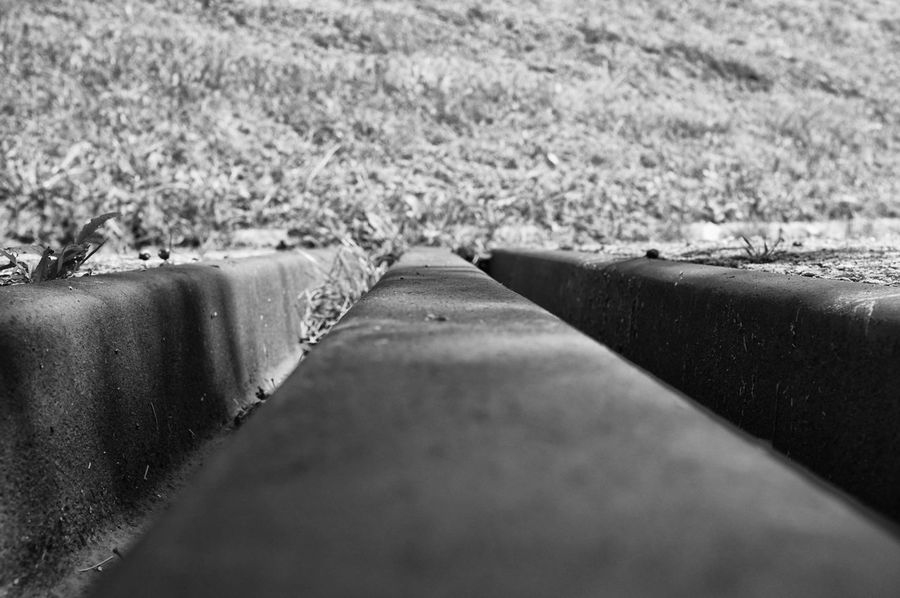 Asphalt Drainage Channel Field Grass Grassy Ground Nature Rural Scene Street Transverse Channel Black & White Blackandwhite Monochrome Filter Filtered Image Monochrome Photography