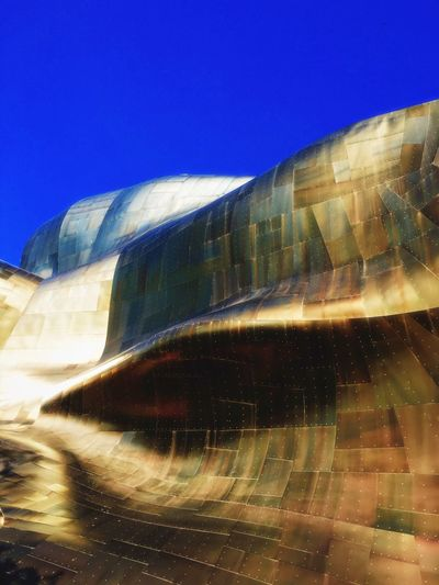 Architecture Seattle Frank Gehry 43 Golden Moments Curves Blue Sky Blue Gold EMP (Seattle) Emp Museum