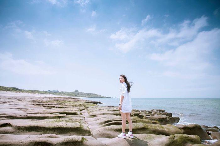 Girl Model Beautiful Beauty Long Hair Blue Blue Sky Sunshine Seaside Rock Cool Outdoors Sand EyeEm Best Shots EyeEm Outdoors Eye4photography  EyeEm Gallery EyeEm Taiwan Coast Taking Photos Cheese! Hi! Enjoying Life Outdoor Photography