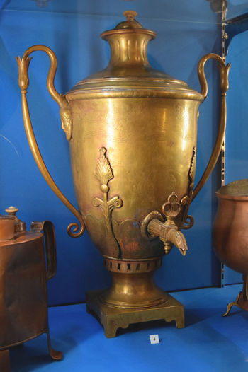 Traditional Culture Antique Arts Culture And Entertainment Blue Close-up Day Gold Colored Indoors  Metal Metalwork Museum No People Old-fashioned Russian Style Samovar Tea - Hot Drink