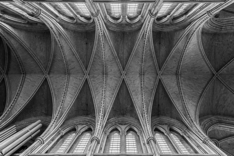 View of the ceiling inside truro cathedral in cornwall