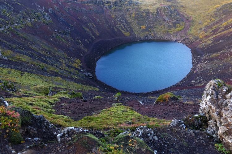 High Angle View Of Kerid Lake At Volcanic Crater