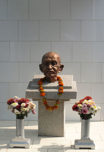 Statue of Mahatma Gandhi in the Mother Teresa's Leprosy Center in Titagarh, West Bengal, India Center Charity Gandhi HERO Historic India Leader Leprosy Mahatma Gandhi Memorial Missionaries Monument Mother Teresa Nonviolence Politican Statesman Statue Symbol Titagarh West Bengal