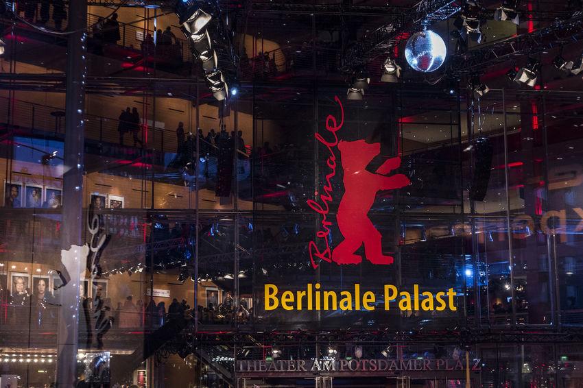 berlinale Bear Berlin Film Festival Berlinale Palast  Film Festival Architecture Berlinale Berlinale 2018 Illuminated Night People Reflexions Streetphotography