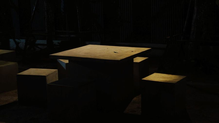 Dim Light. Scary Horror Dim Light Table Metal Industry Black Background Business Finance And Industry Wood - Material Industry Crate Dark Light