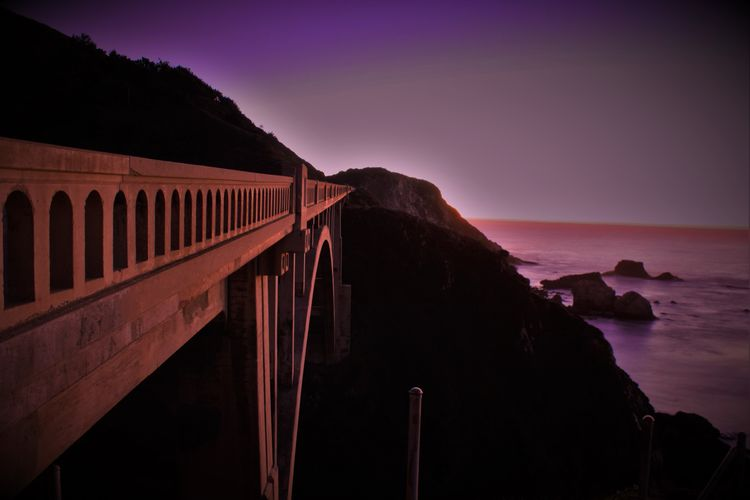 Amazing View Bridge Bridge - Man Made Structure Built Structure California Canon Canon Photography Clear Sky Coastline Edited Horizon Over Water Light Monterey Bay Ocean Outdoors Purple Scenics Sea Tourism Tranquil Scene Traveling Water Learn & Shoot: After Dark