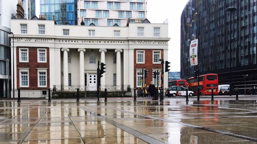 General Lying-in Hospital Architecture Waterloo Waterloo Station Princess Of Wales Her Majesty The Queen Hmq London Lifestyle London London History Rain Reflection Red Bus HUMANITY Lambeth