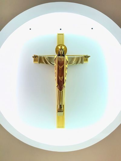 Gold crucifix in a white circle of light Chapel Light Circle Crucifix Human Representation No People Spirituality Cross Religion Indoors  Place Of Worship