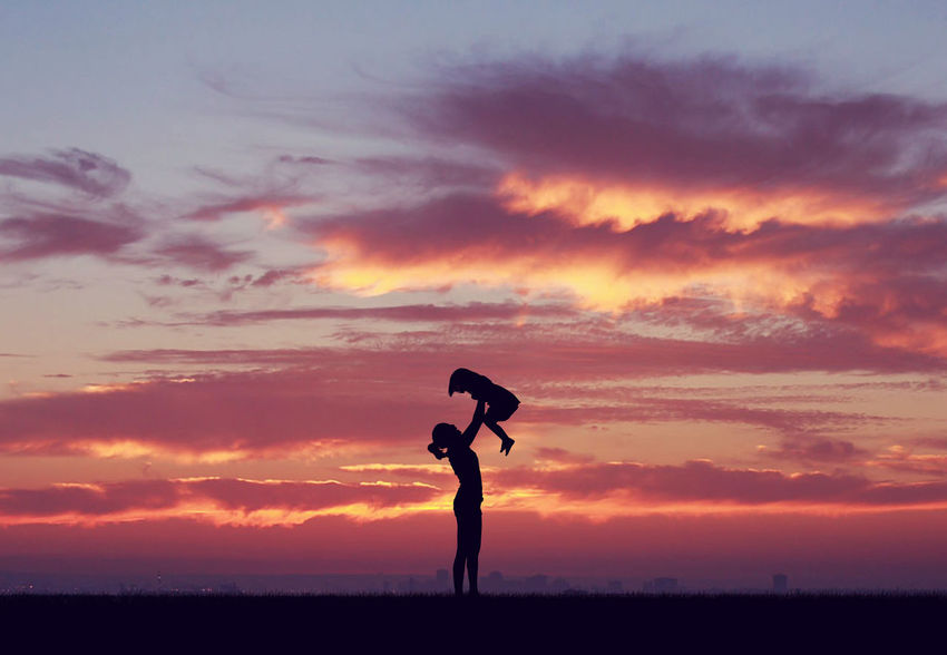 Family Atmospheric Mood Balance Carefree Cloud Cloud - Sky Cloudscape Cloudy Dramatic Sky Escapism Fun Getting Away From It All Kid Light Mom Moody Sky Orange Color Outdoors Outline Play Silhouette Sky Storm Cloud Sun Sunset
