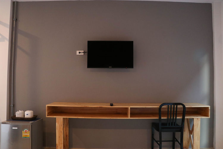 Day Home Interior Home Showcase Interior Horizontal Indoors  No People Projection Screen Table Wood