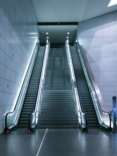 City Modern Illuminated Steps And Staircases Staircase Steps Railing Architecture Built Structure Escalator Underground Walkway Subway Station Subway Train Subway