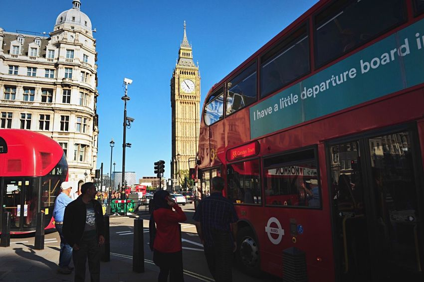 EyeEm LOST IN London Architecture Building Exterior Built Structure Text City Communication Real People City Life Day Bus Travel Destinations Outdoors Men Women Land Vehicle Clock Tower Clear Sky Double-decker Bus Large Group Of People Telephone Booth