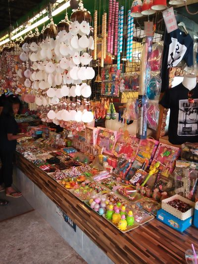 High angle view of market stall in store