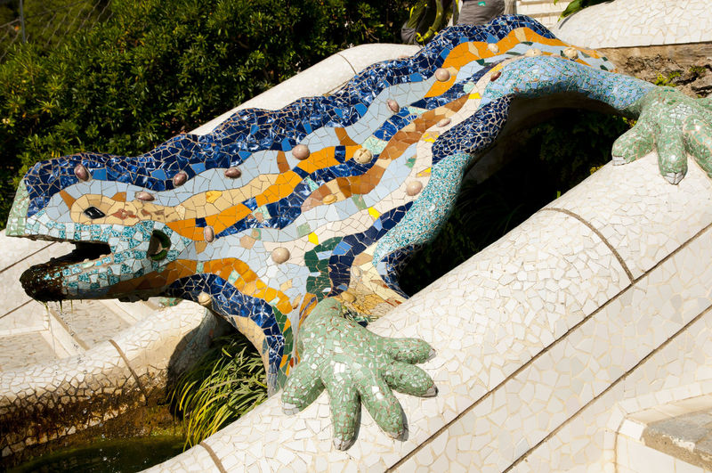 Park Guell Lizard - Barcelona - Spain Barcelona Lizard Day El Drac Guell Park Multi Colored Nature No People Outdoors Tree Water