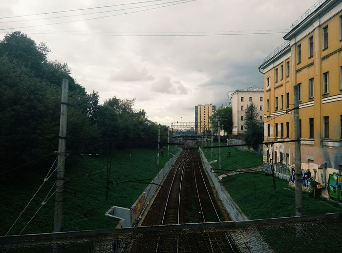 Architecture Cloud - Sky Built Structure Sky Building Exterior No People Outdoors Day Apartment City Tree Railroad Railway Track Railway Bridge Railway Rails Urban Urban Landscape Moscow Moscow, Москва Moscow, Russia Rzd The Street Photographer - 2017 EyeEm Awards