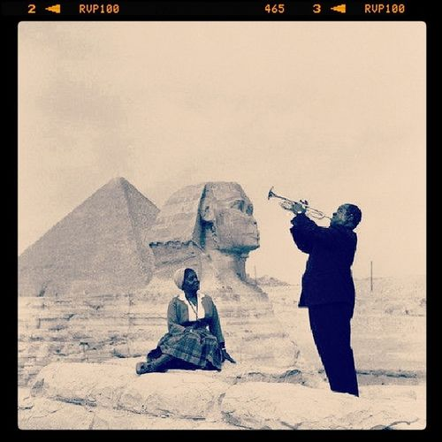 The Legend Louis_armstrong play Trumphet for his wife in Egypt on front of sphinx at 1957 rip myth passion oldies jazz love wonderful awesome giza wonders magic music adore