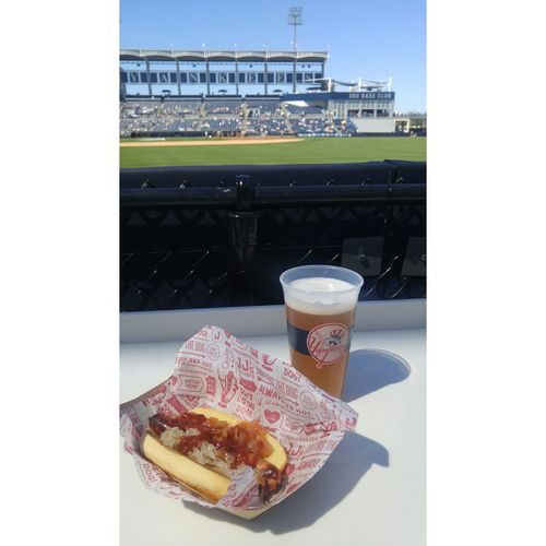 Food And Drink Drink Freshness Food No People Outdoors Day Baseball Baseball Game Baseball Stadium Hot Dogs Beer Cold Beer New York Yankees Spring Training Field Delicious Ball Park Food Florida Food And Drink Onions In Sauce