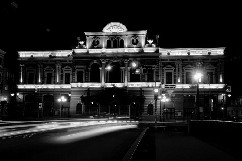 Theater Streetphotography Nightphotography Black And White Black Night Photography Night Night Lights City Illuminated Architecture Building Exterior Built Structure Historic Architectural Column Building Light Trail Light Painting #urbanana: The Urban Playground My Best Photo