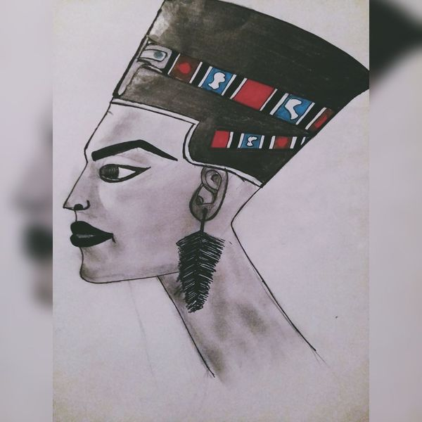 Drawing Draw Draw By Me Nefertiti Egyptian Girl Drawing Pencilart Pencil Drawing DrawSomething Mobile Photography Instaphoto Mobile Editing