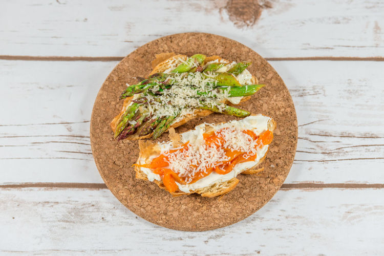 Croissants with asparagus, roasted peppers and cream cheese Asparagus Breakfast Cheese Cream Cheese Croissant Food Food And Drink Freshness Healthy Food Helthyeating Homemade Lunch