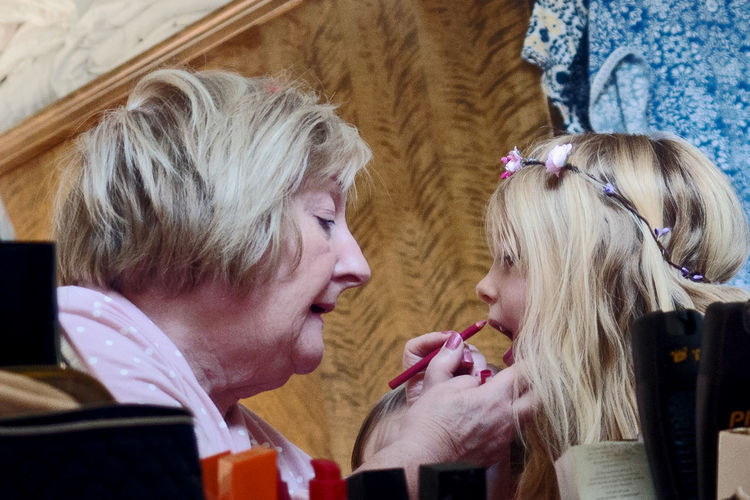 Grand Mother Adult Blond Hair Bonding Child Couple - Relationship Daughter Emotion Females Food And Drink Girls Hair Hairstyle Happiness Headshot Human Hair Indoors  Lifestyles People Portrait Positive Emotion Teenager Togetherness Two People Women