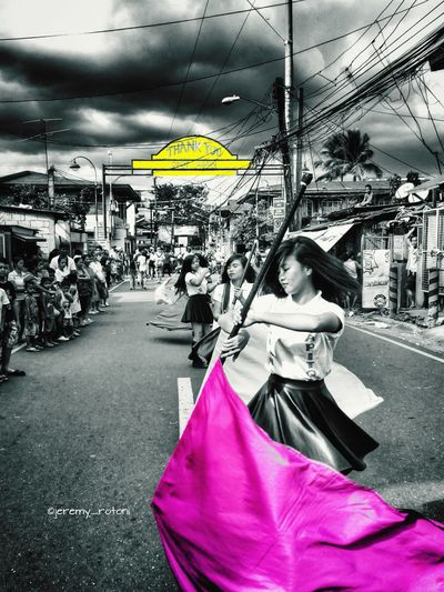 On The Move Eyeem Philippines Color Guard 🚩 Colorsplash Portrait Of A Woman Marching Band Drum Corps Street Portrait Pink And Yellow Thank You