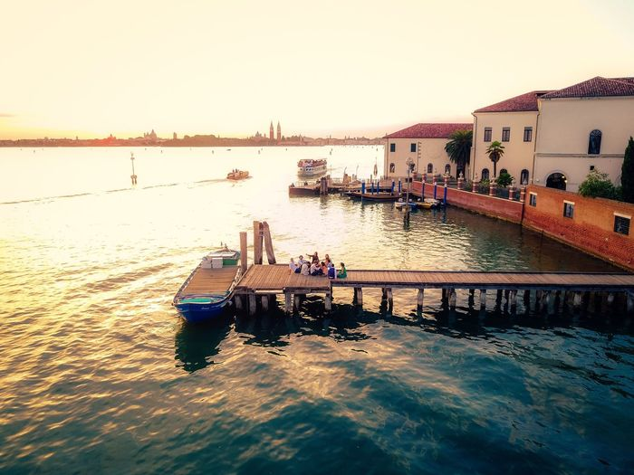 Water Architecture Built Structure River Nautical Vessel Sunset Outdoors Sky Building Exterior Clear Sky Day Nature No People Venice, Italy DJI Mavic Pro Connected By Travel Lost In The Landscape Dronephotography Droneshot EyeEm Gallery Drone  Panoramic Dji Lagoon Beauty In Nature The Traveler - 2018 EyeEm Awards