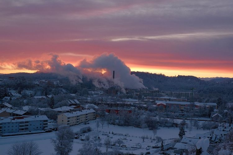Winter Sky Cold Temperature Smoke - Physical Structure Building Exterior Architecture Built Structure Landscape Factory High Angle View Snowcapped Mountain Schongausunrise Schongau Morning Light