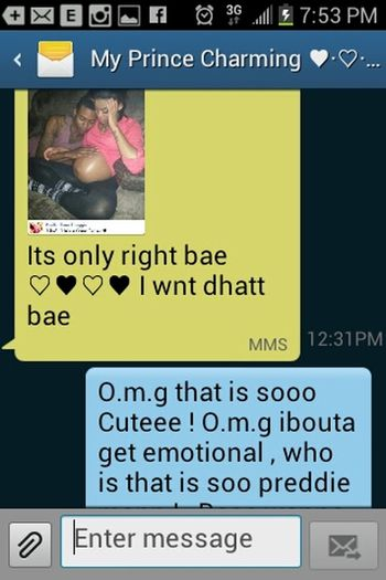 Awe3eee :-D. I think this is sooo Pr3ddieee. & adorable fha hym to send me this telling me he wbt this one day ♥♥♥