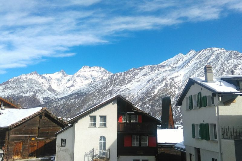 Travel Destinations Winter Snow Architecture Building Exterior Cold Temperature Outdoors No People Cloud - Sky Mountain Tradition Sky House Built Structure Saasfee Swiss Mountains Switzerland Snowy Mountains