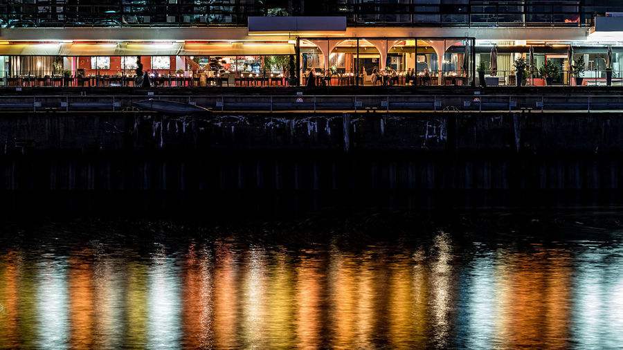 restaurant Elbe River Hamburg Harbour Tables And Chairs Architecture Building Exterior Built Structure City Cuple Guests Illuminated Night Night Dinner Orange Lights Outdoors People Reflection Seats Sky Transportation Water Waterfront Waterreflections