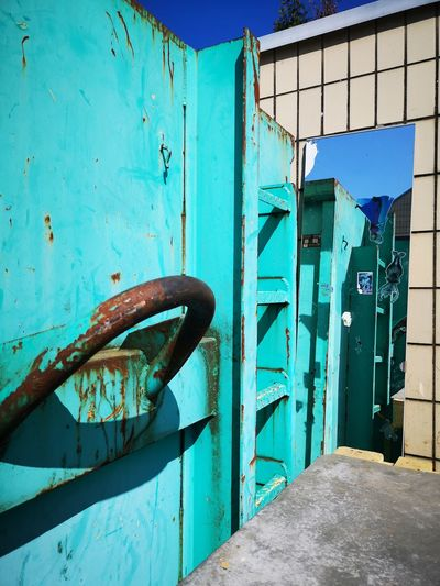 Rooms EyeEm Abstract Abstract EyeEm Street Photography Blue Rusty Door Wood - Material Metal Close-up Architecture Sky Built Structure Weathered