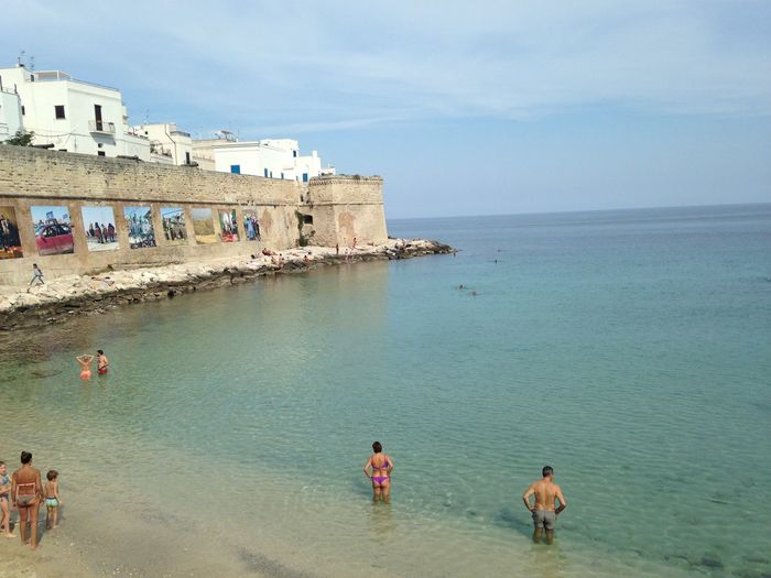 Monopoli Puglia Adult Architecture Beach Building Exterior Built Structure Day Group Of People Holiday Horizon Over Water Italian Beach Italy Land Leisure Activity Lifestyles Men Nature Outdoors People Real People Sea Sky Water Women