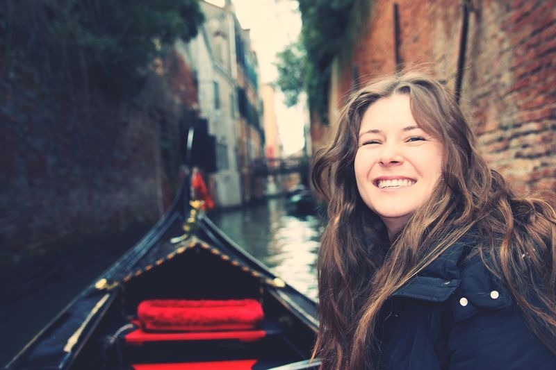 Outdoors One Woman Only Happiness Canal Smiling Transportation One Person Mode Of Transport Nautical Vessel Young Women Travel Young Adult Real People Gondola - Traditional Boat Beautiful Woman Portrait Women Architecture Day Only Women Adults Only