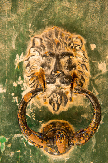 Old rusty lion head knocker in the medieval city of Mdina, Malta Bronze Entrance Iron Lion Lion Head Malta Ornament Valletta,Malta Brass Close-up Detail Door Doorway HEAD Knob Knocker Knocking Lock Mettalic No People Object Old Rusty Vintage Wooden Door