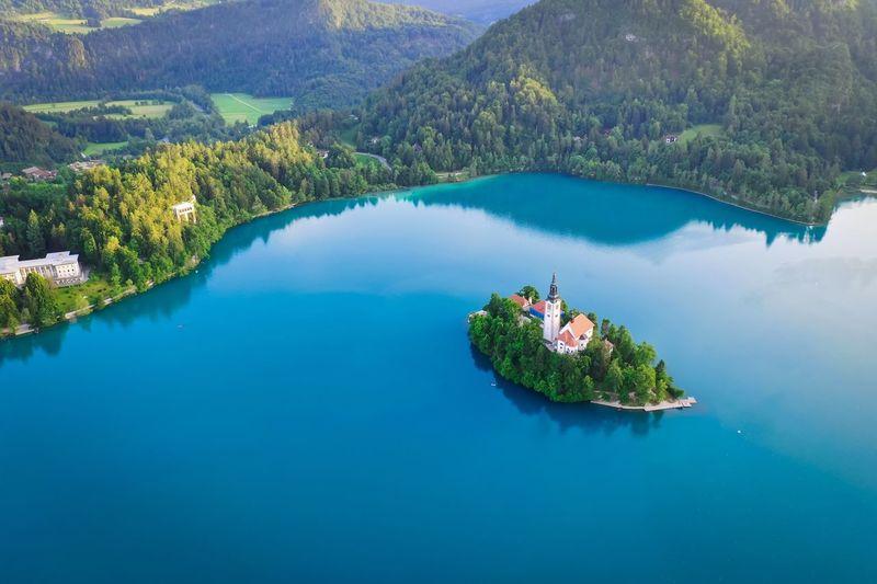 High angle view of island amidst lake