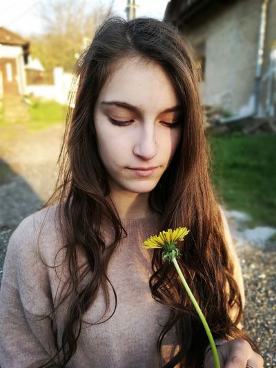 One Person Long Hair Brown Hair Beauty Front View Young Women Portrait Close-up Flower Dandelion Breeze Slovakia Nature