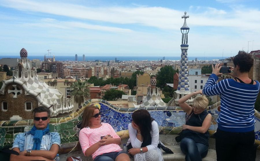 Been there, done that. Tourists Holiday Taking Photos Of People Taking Photos Parc Guell Gaudi Summer Barcelona Catalunya Up Close Street Photography The Essence Of Summer People And Places Your Ticket To Europe Stories From The City