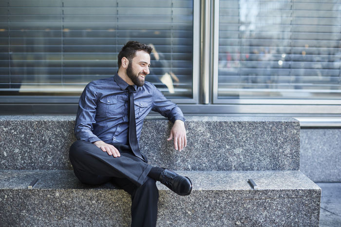 Beard Bench Blue Brazilian Business Business Man Confidence  Day Entrepreneur Finance Handsome Happiness Laugh Laughing Lifestyles Man Sitting Smiling Start Up Technology Urban Well-dressed Young Man