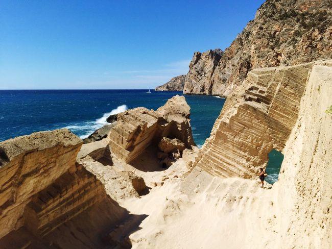 Laislabonita Atlantis Sea Horizon Over Water Rock - Object Tranquility Scenics Sunlight Clear Sky Beauty In Nature Non-urban Scene Rocky Cliff Eroded Ibiza Summer Eyeemphoto