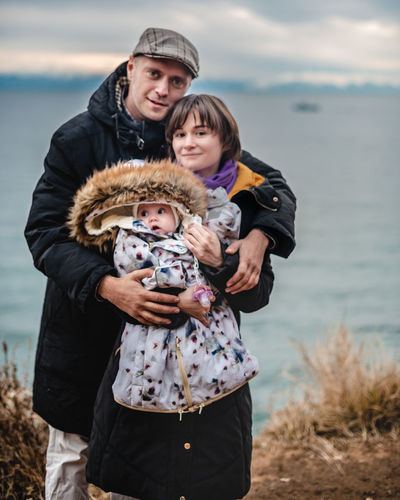 Family on the baikal lake in russia