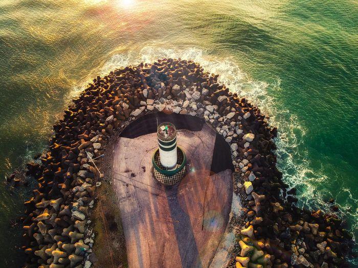 High angle view of lighthouse