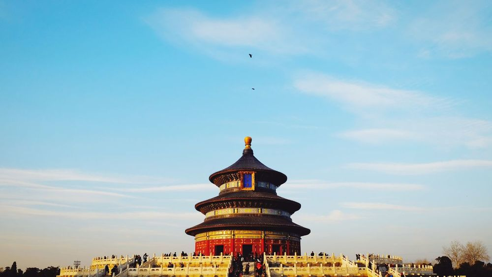 History Architecture Travel Destinations Ancient Tourism Sky Palace Built Structure Ancient Civilization Cloud - Sky Outdoors Building Exterior Royalty King - Royal Person Beijing, China FUJIFILM X-T10 Temple Of Heaven Park Place Of Worship Warm Winter Altar Dome Old Architecture Old Building  Bird In Flight Flying Bird