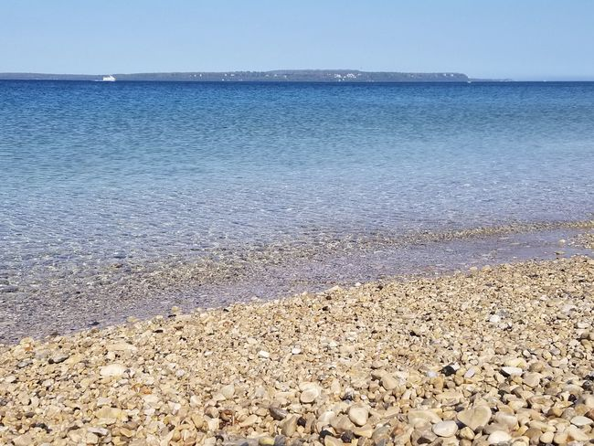 Crystal Clear Clear Water Rock Michigan Nature Travel Mackinaw City, MI Mackinac Island Summer Water Beach Sand Blue Sunlight Clear Sky Sky Horizon Over Water Pebble Beach Pebble