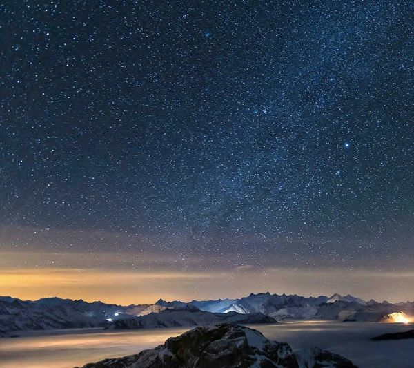 Night Star - Space Astronomy Space And Astronomy Mountain Milky Way Illuminated Snow Galaxy Cold Temperature Blue Sky Constellation Mountain Range Nature Outdoors Winter Space No People Moon
